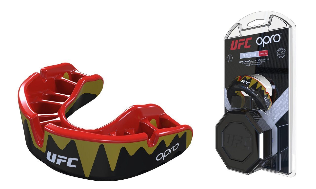 Капа OPRO Platinum UFC Hologram Fangz-Black Metal/Red (002261002)