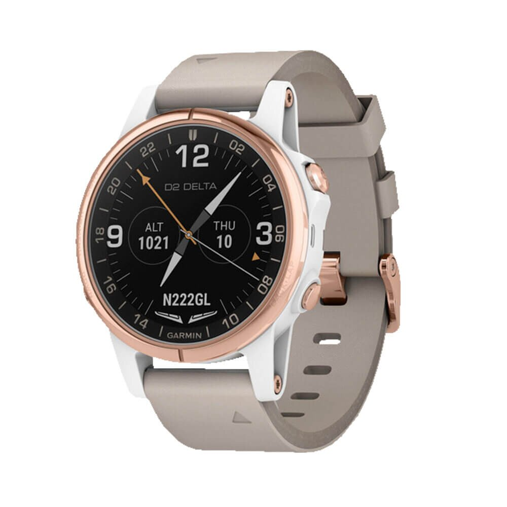 Авиационные часы GARMIN D2 Delta S White/Rose with Beige Leather & White Silicone Bands (010-01987-30)