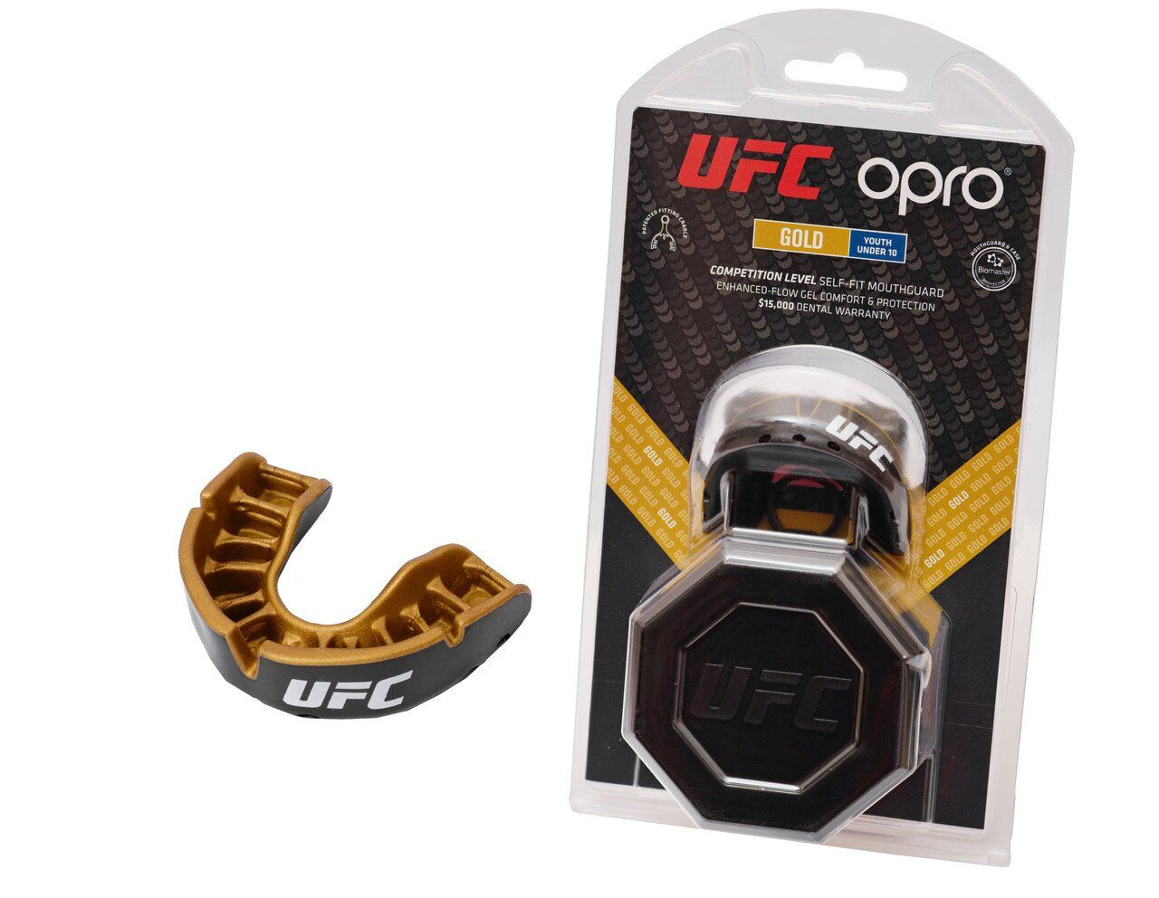Капа OPRO Junior Gold UFC Hologram Black Metal/Gold (002260001)
