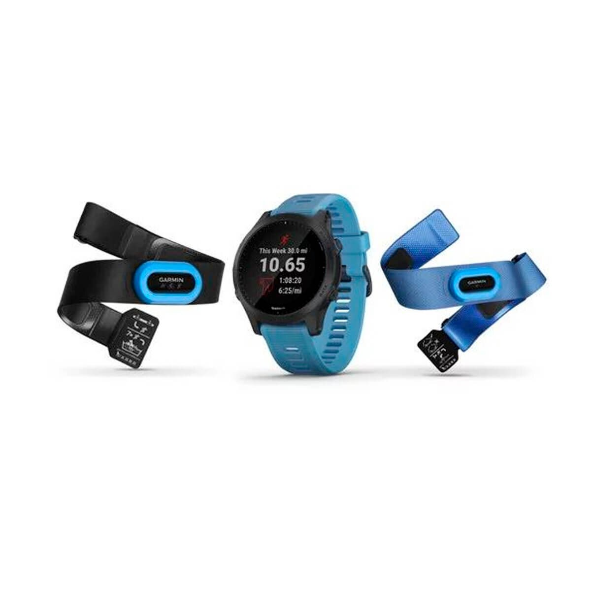 Cпортивные часы GARMIN Forerunner 945 Tri-bundle HRM with Blue and Black Silicone Bands (010-02063-11/10)