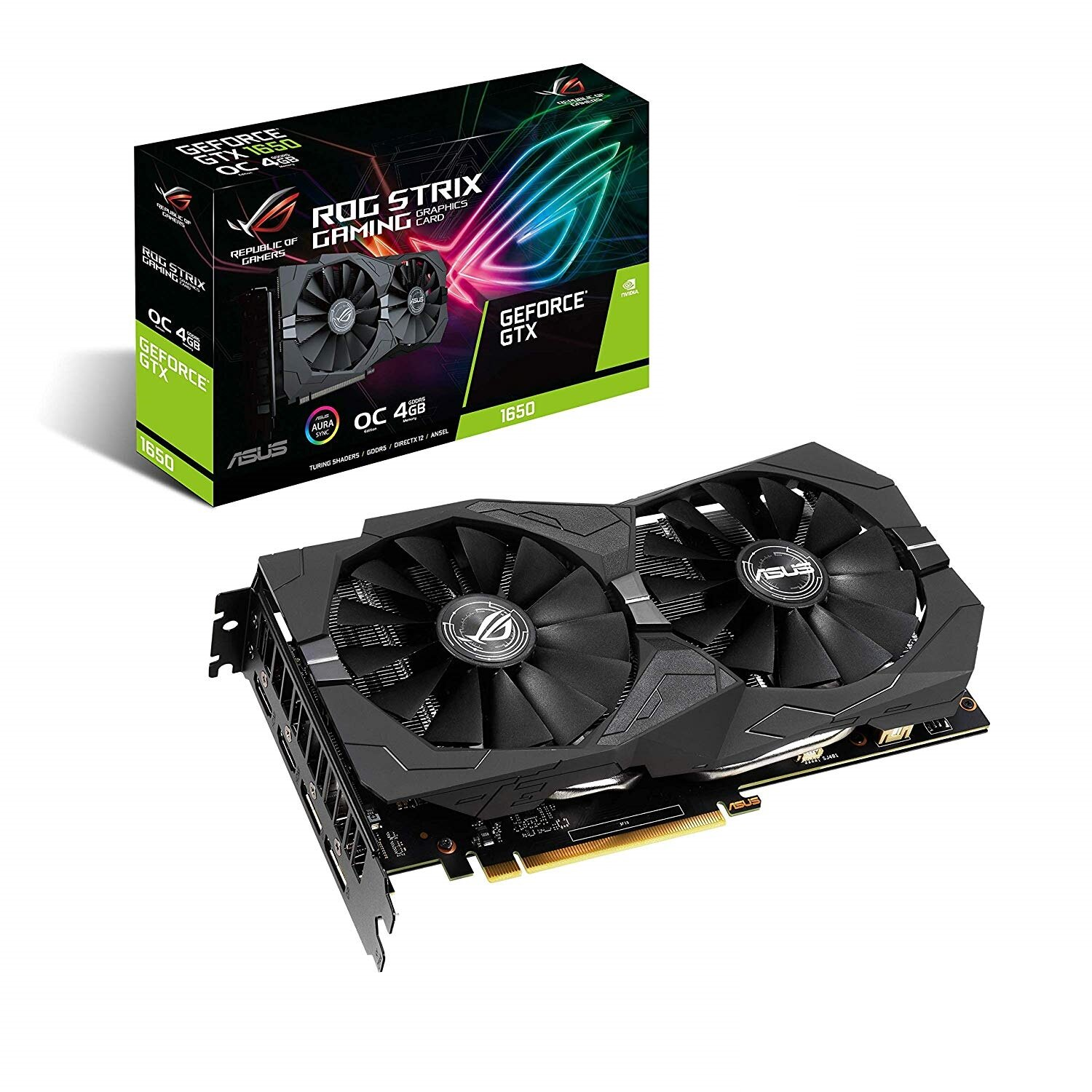 Видеокарта GF GTX 1650 4GB GDDR5 ROG Strix Gaming OC Asus (ROG-STRIX-GTX1650-O4G-GAMING)